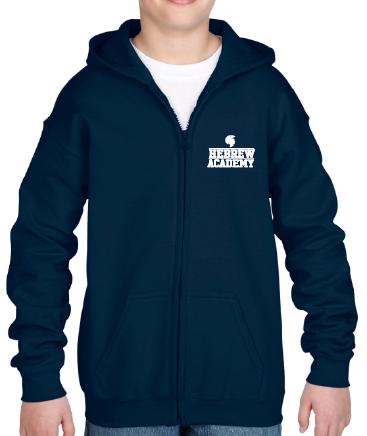 Youth Navy Zip-Up Hoodie