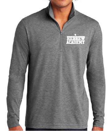 Adult 1/4 Zip Sweatshirt Top Dark Heather Grey