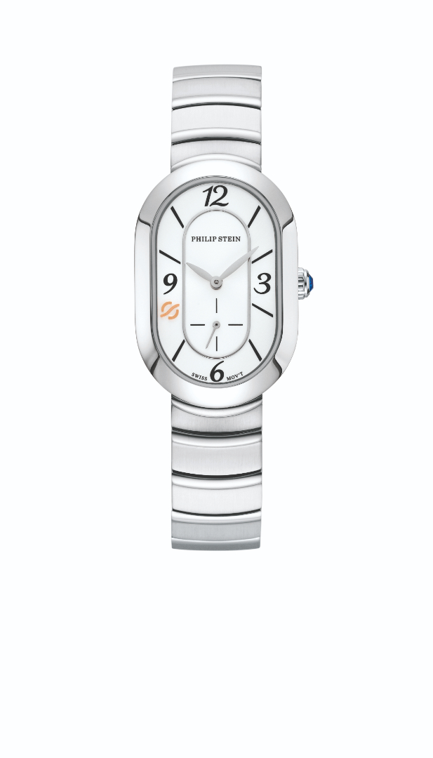 Philip Stein Watch, Steel Oval Case, Sapphire Crystal, Fashion White Dial, Integrated Stainless Steel Bracelet