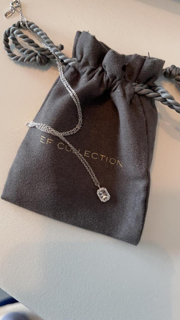 EF Collection Diamond & White Topaz Emerald Cut Necklace