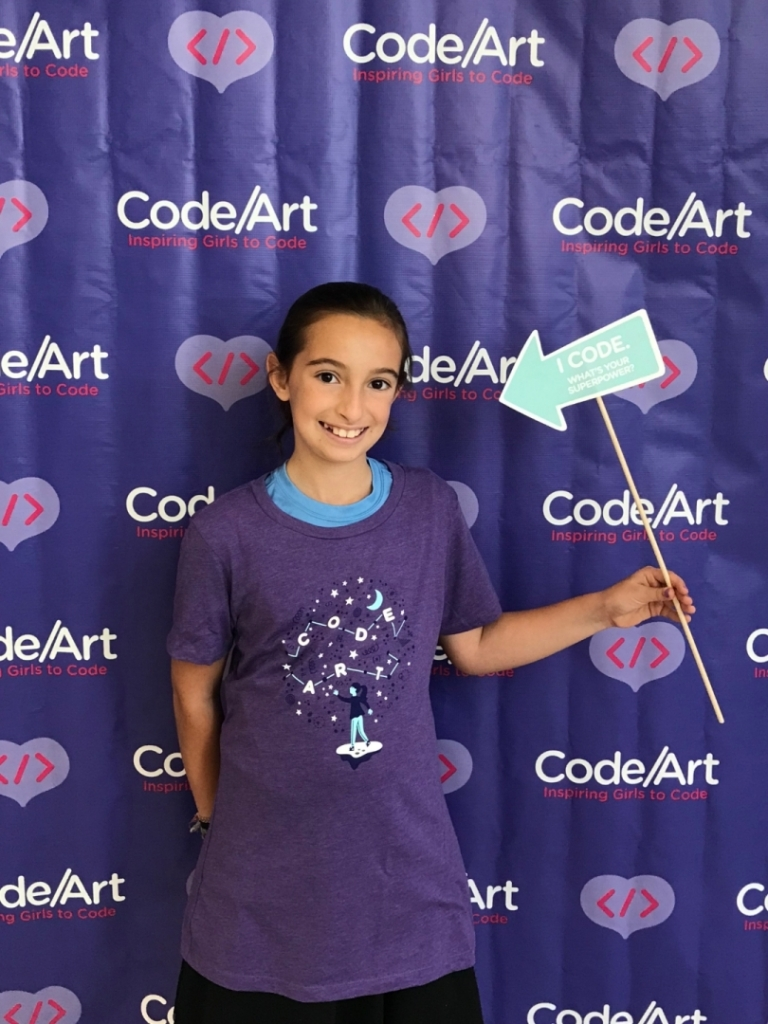 Fifth Grader Tova Bossewitch Wins 1st Place with her Interactive Game Food Hunt in the 4th Annual Code Art Competition