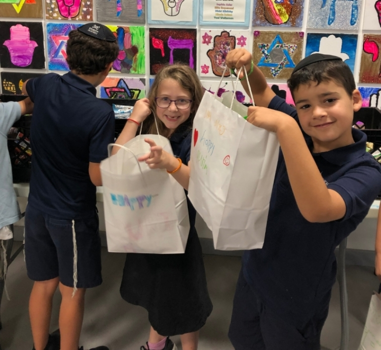 Second Grade Visits the Kosher Food Bank and Assembles Mishloach Manot